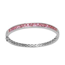 Natural 5.32 CTW Pink Sapphire & Diamond Bangle 14K White Gold - REF-172F8M
