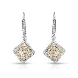 Natural 2.15 CTW Diamond Earrings 14K Two Tone Gold - REF-372N6Y