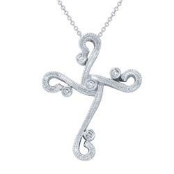 Natural 0.06 CTW Diamond Necklace 14K White Gold - REF-40F5M
