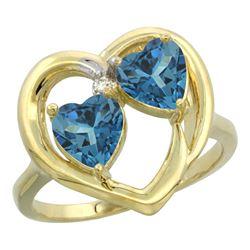 2.60 CTW London Blue Topaz & London Blue Topaz Ring 14K Yellow Gold - REF-34F5N