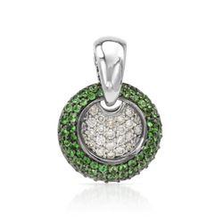 Natural 1.53 CTW Tsavorite & Diamond Necklace 14K White Gold - REF-99K9R
