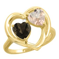1.91 CTW Diamond, Quartz & Morganite Ring 14K Yellow Gold - REF-36V6R