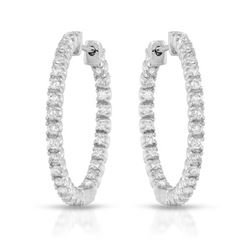 Natural 1.12 CTW Diamond Earrings 14K White Gold - REF-110W7H