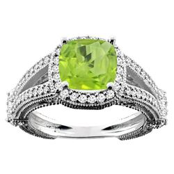 2.58 CTW Peridot & Diamond Ring 10K White Gold - REF-44F5N