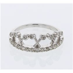 Natural 0.47 CTW Diamond Ring 14K White Gold - REF-57F6M