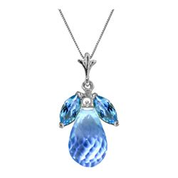 Genuine 7.2 ctw Blue Topaz Necklace 14KT White Gold - REF-30V5W