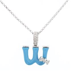Natural 1.32 CTW Turquoise & Diamond Necklace 14K White Gold - REF-27N2Y