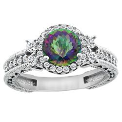 1.46 CTW Mystic Topaz & Diamond Ring 14K White Gold - REF-77Y4V