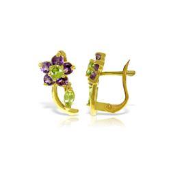 Genuine 1.72 ctw Peridot & Amethyst Earrings 14KT Yellow Gold - REF-40A5K