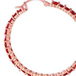 Genuine 6 ctw Ruby Earrings 14KT Rose Gold - REF-125R6P