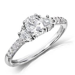 Natural 1.52 CTW Oval Cut & Half Moon Diamond Engagement Ring 14KT White Gold