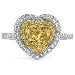 Natural 1.42 CTW Canary Yellow Heart Shape Double Halo Diamond Ring 14KT Two-tone
