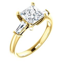 Natural 1.82 CTW Princess Cut & Baguettes 3-Stone Diamond Ring 18KT Yellow Gold