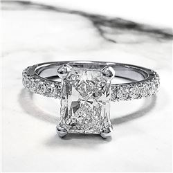 Natural 2.62 CTW Radiant Cut Diamond Engagement Ring 14KT White Gold