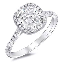 Natural 1.95 CTW Halo Cushion Cut Diamond Style Engagement Ring 18KT White Gold