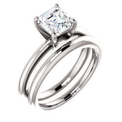 Natural 1.02 CTW Asscher Cut Diamond Engagement Ring 14KT White Gold