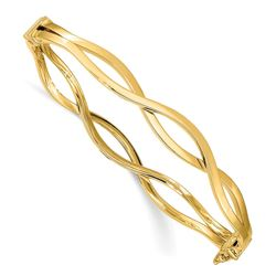 14k Yellow Gold 7 mm Fancy Bangle - 7 in.