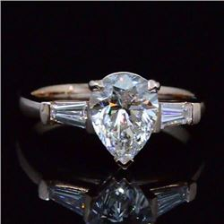 Natural 1.52 CTW Pear Cut & Baguette 3-Stone Diamond Engagement Ring 18KT White Gold