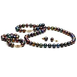 Black Freshwater Pearl 3-Piece Jewelry Set, 7.5-8.0mm