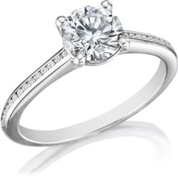 Natural 1.27 CTW Round Cut Diamond Engagement Ring 14KT White Gold
