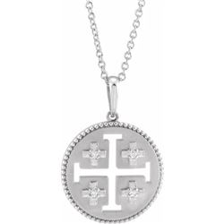 Natural 0.27 CTW Jerusalem Cross Necklace 18KT White Gold