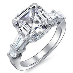 Natural 2.22 CTW Asscher Cut & Baguettes Diamond Engagement Ring 14KT White Gold