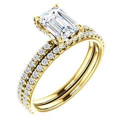 Natural 2.32 CTW Halo Emerald Cut Diamond Bridal Ring 14KT Yellow Gold