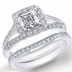 Natural 2.22 CTW Halo Asscher Cut Diamond Split Shank Engagement Ring 18KT White Gold