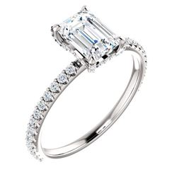 Natural 1.42 CTW Diamond Basket Emerald Cut Diamond Ring 18KT White Gold