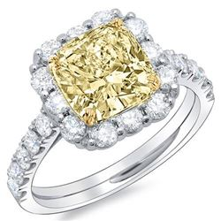 Natural 2.73 CTW Canary Yellow Cushion Cut Diamond Halo Style Engagement Ring 18KT White Gold
