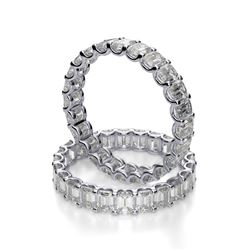 Natural 3.02 CTW U-Setting Emerald Cut Diamond Eternity Ring 18KT White Gold