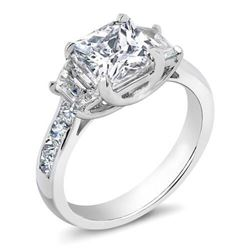 Natural 1.62 CTW Princess Cut & Trapezoids Diamond Engagement Ring 18KT White Gold