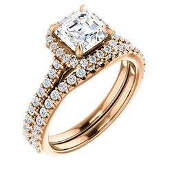 Natural 2.02 CTW Halo Asscher Cut Diamond Engagement Bridal Set 18KT Rose Gold