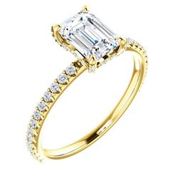Natural 1.42 CTW Diamond Basket Emerald Cut Diamond Ring 14KT Yellow Gold