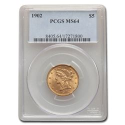 1902 $5 Liberty Gold Half Eagle MS-64 PCGS