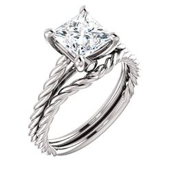 Natural 0.82 CTW Princess cut Rope Style Diamond Engagement Ring 18KT White Gold
