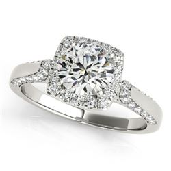 Natural 1.5 ctw Diamond Solitaire Halo Ring 14k White Gold