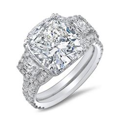 Natural 4.17 CTW Cushion & Halo Trapezoids Diamond Engagement Ring 14KT White Gold