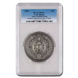 2018 Cook Islands 3 oz Antique Aztec Calendar Stone MS-70 PCGS