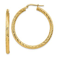 14k Yellow Gold Diamond-cut Round Hoop Earrings - 30 mm