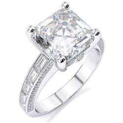 Natural 2.92 CTW Asscher Cut Diamond Ring 18KT White Gold