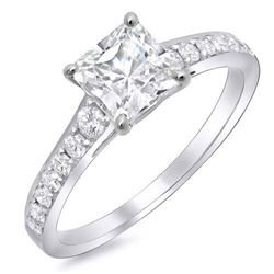 Natural 1.02 CTW Square Radiant Cut Diamond Ring 18KT White Gold