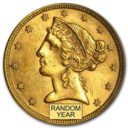 $5 Liberty Gold Half Eagle BU (Random Year)