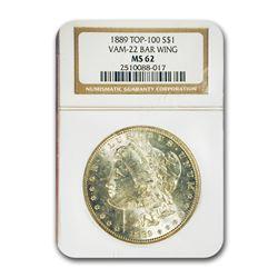 1889 Morgan Dollar MS-62 NGC (VAM 22 Bar Wing, Top-100)