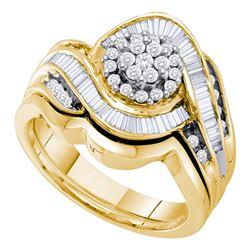 14kt Yellow Gold Round Diamond Cluster Bridal Wedding Ring Band Set 3/4 Cttw