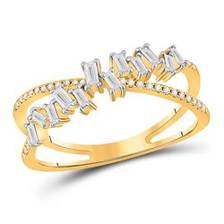 14kt Yellow Gold Womens Baguette Diamond Crossover Fashion Ring 1/3 Cttw