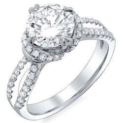 Natural 3.13 CTW Round Brilliant Cut Diamond Split Shank Engagement Ring 14KT White Gold