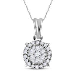 14kt White Gold Womens Round Diamond Halo Cluster Pendant 1/4 Cttw