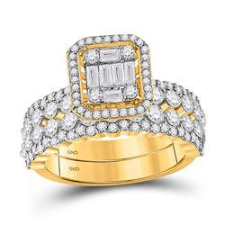 14kt Yellow Gold Baguette Diamond Bridal Wedding Ring Band Set 1-7/8 Cttw