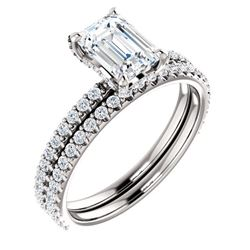 Natural 4.02 CTW Emerald Cut Halo Diamond Engagement Ring 18KT White Gold
